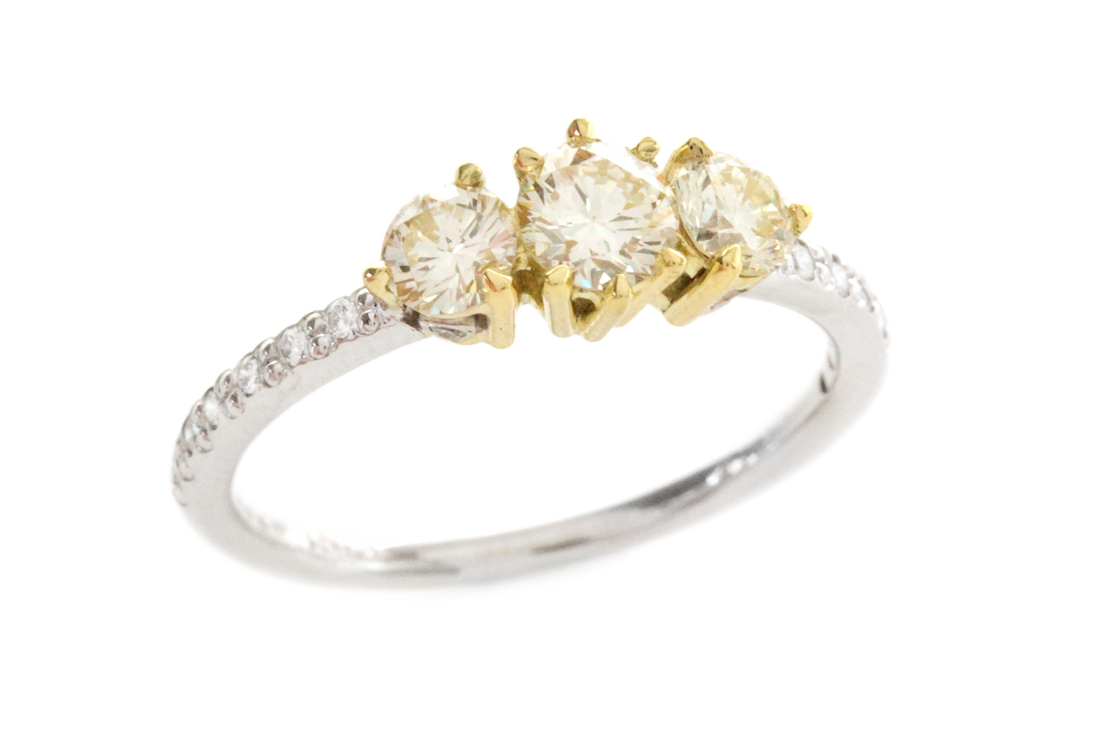 18ct Yellow and White Gold Trilogy Ring with Yellow and White Diamonds - 50% OFF!
