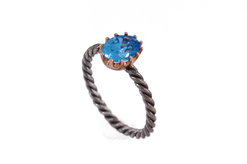 9ct Rose Gold & Sterling Silver Blue Topaz Twist Shank Ring
