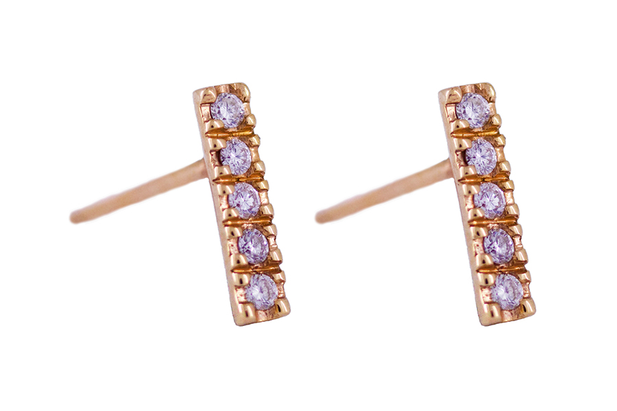 Claw Set Diamond Studs in 9ct Rose Gold