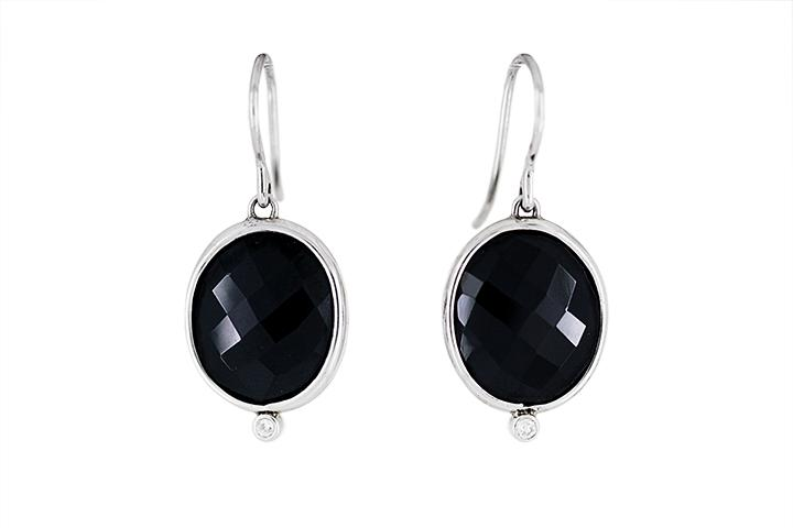 Silver, Black Spinel and Diamond Earrings