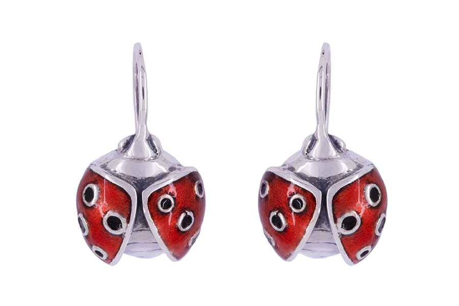 Ladybugs in Silver with Cold enamel