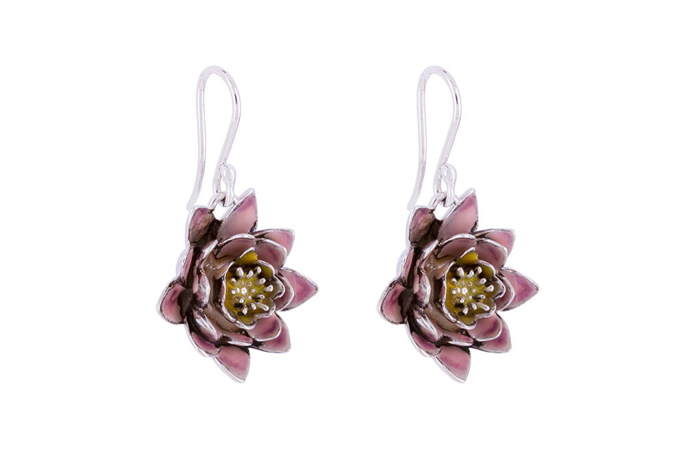 Silver Lotus Dangles with Lilac cold enamel