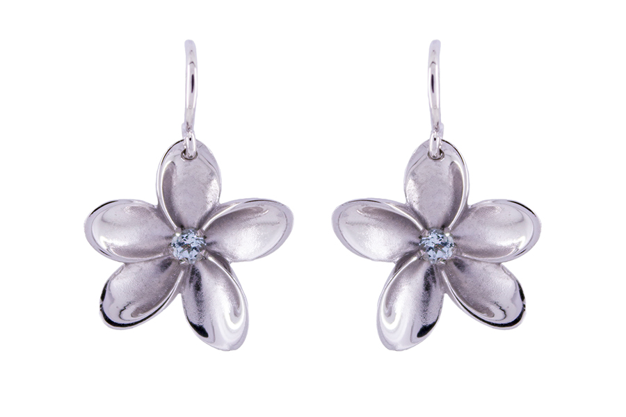Blue Topaz Frangipani Earhooks in Silver