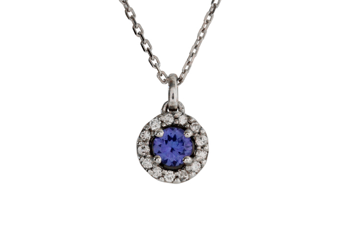 9ct White Gold Tanzanite Halo Pendant