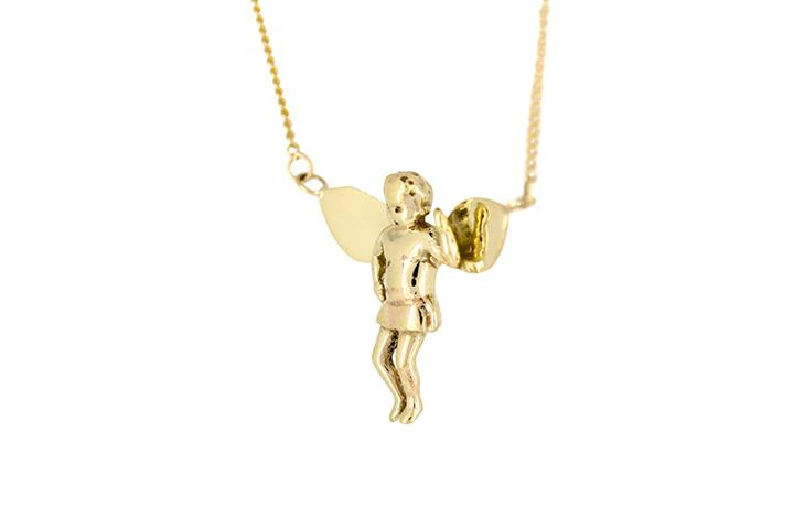 Baby Angel Necklace in 9ct Yellow Gold