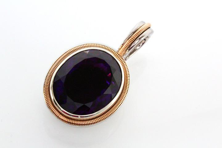 White Gold Amethyst Pendant with Yellow Gold Coil Detail
