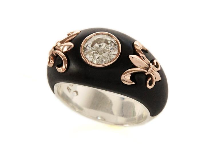 Silver, Rose Gold & African Blackwood Diamond Ring