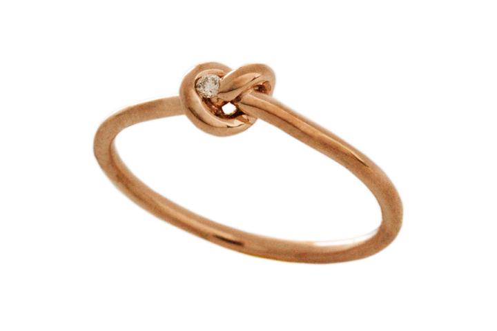 Rose Gold Fine Knot Ring with Diamond