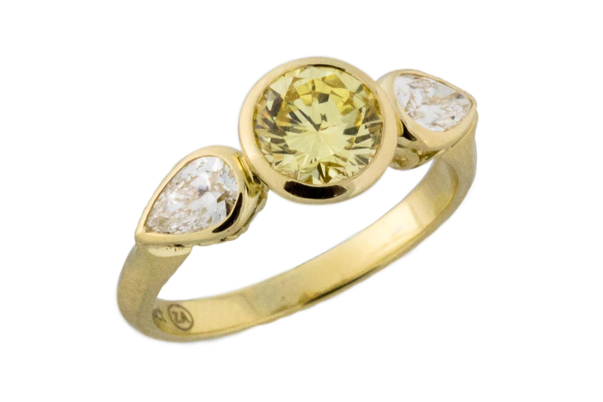Diamond Round And Pear Ring A