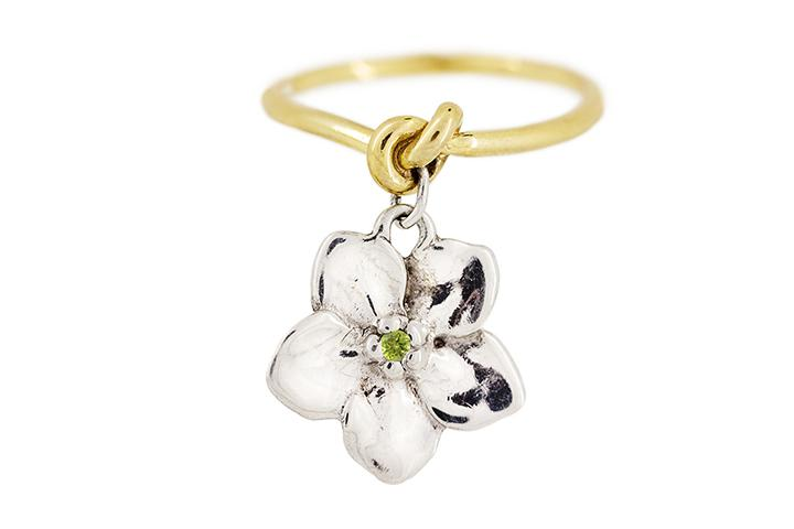 18ct Yellow Gold, Silver and Peridot Forget me Knot Ring