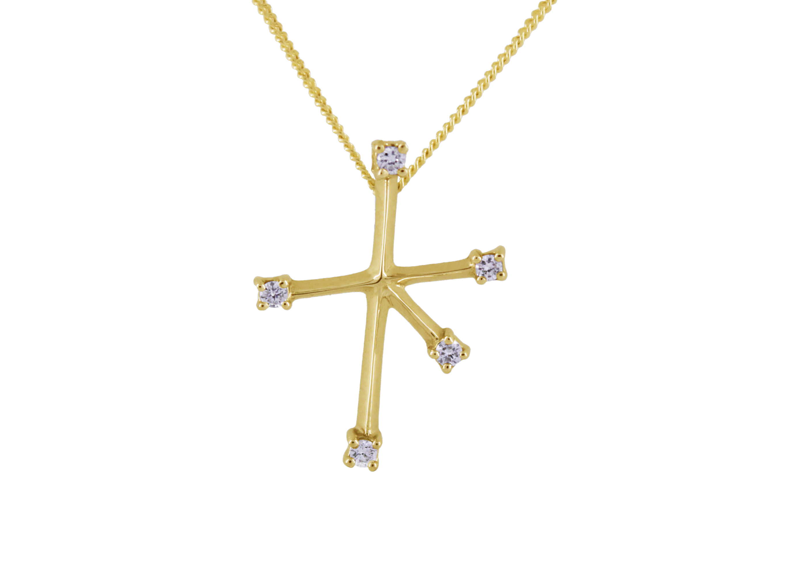 Southern Cross with Diamonds in 9ct Yellow Gold