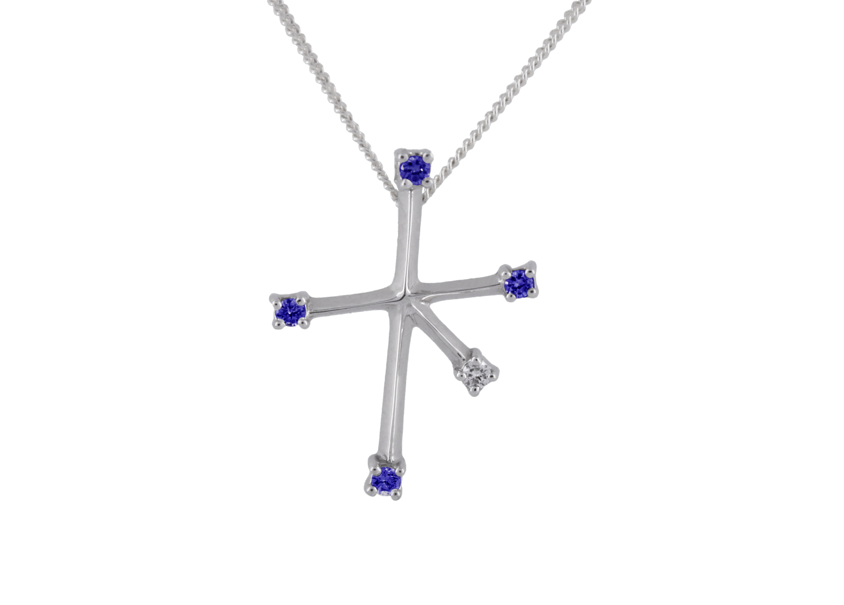 Southern Cross with Sapphires & Diamonds in 9ct White Gold