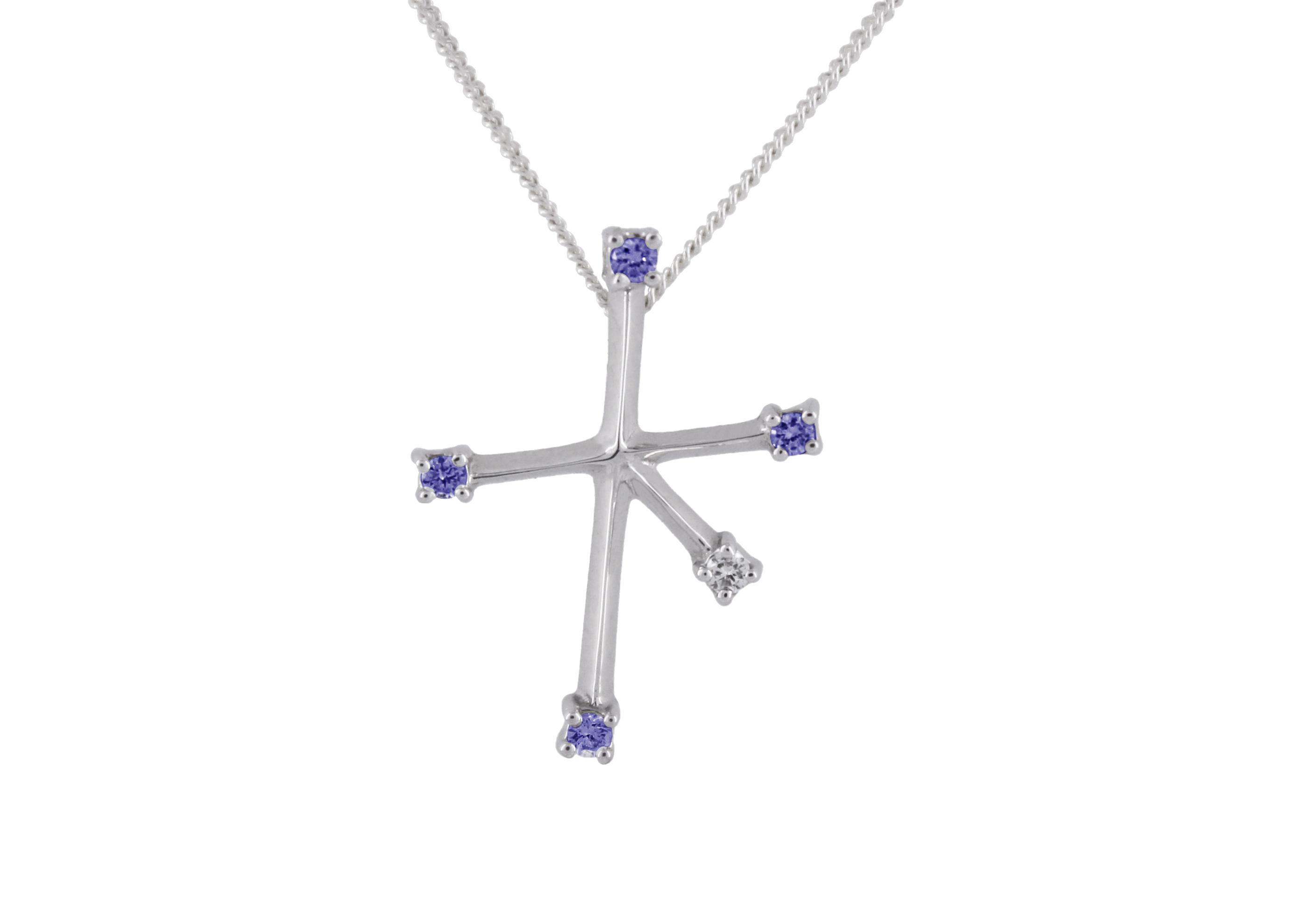 Southern Cross with Sapphires & Diamond in 9ct White Gold
