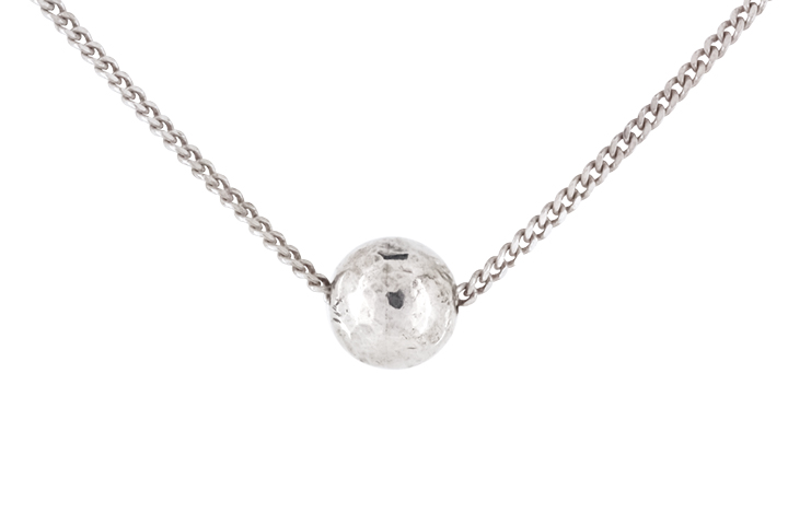 Textured Silver Ball Pendant and Chain