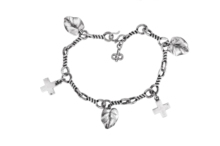 Silver Leaf and Cross Bracelet
