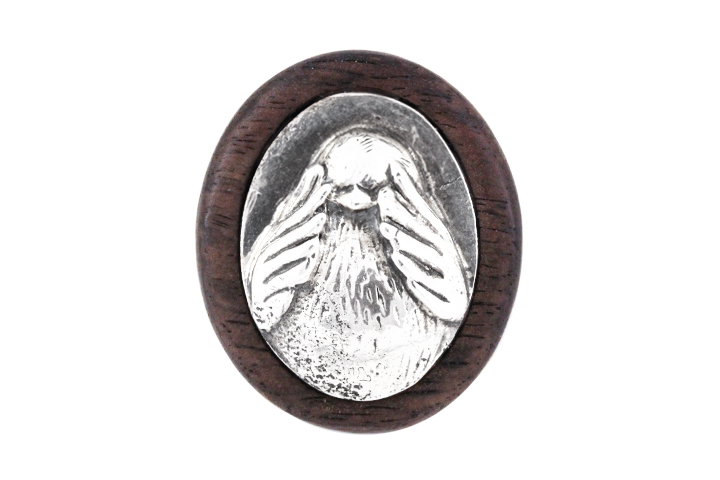 Silver and Wood 'See-No-Evil' Lapel Pin