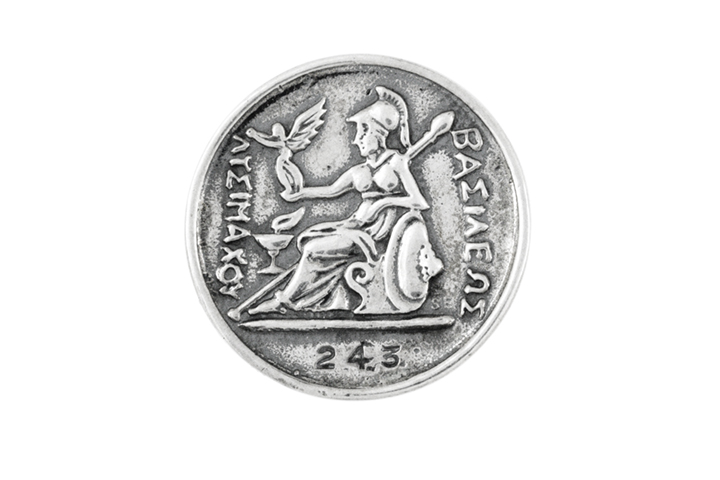 Silver Coin Lapel Badge - Figure