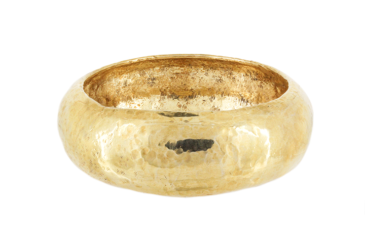 Hand Forged Beaten Bangle in Sterling Silver - Yellow Gold Gilded