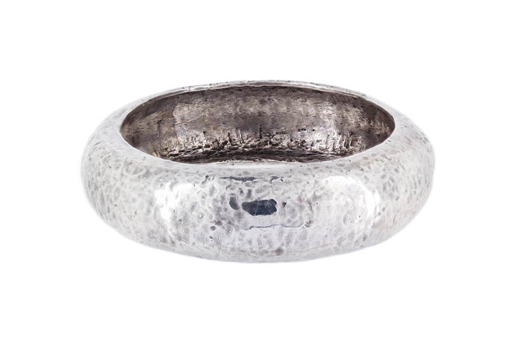Hand Forged Beaten Bangle in Sterling Silver
