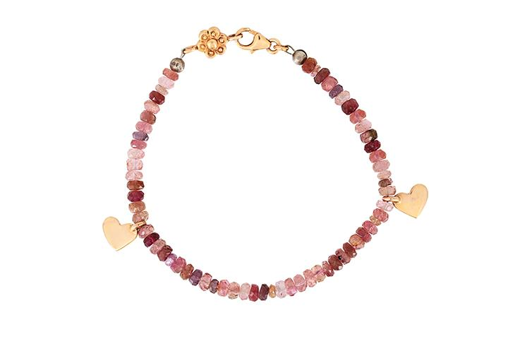 9ct Rose Gold with Tourmaline beads Bracelet