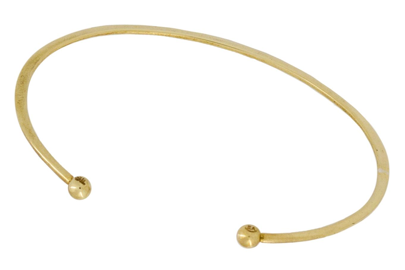 Silver Cuff with Ball Ends - Plated with Yellow Gold