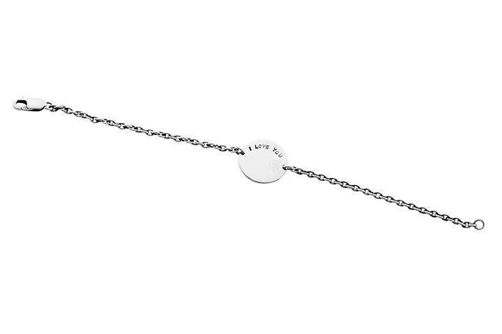 Silver Personalised Initial disc bracelet