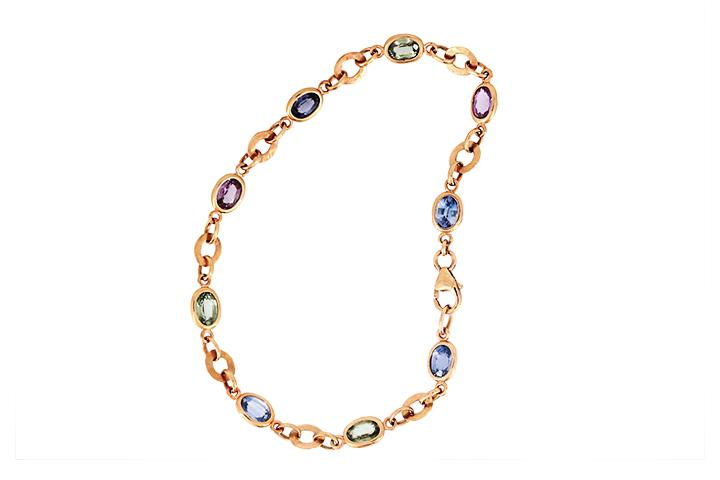 9ct Rose Gold Bracelet with Sapphires and Beaten Links