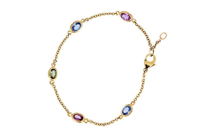 Sapphires in Multi Colours, and 9ct Yellow Gold Bracelet