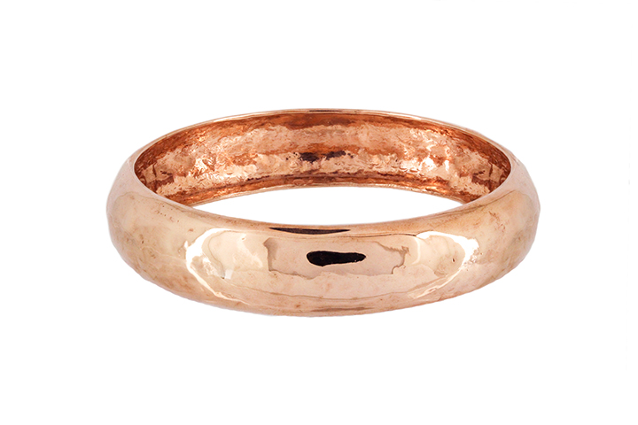 Hand Forged Beaten Bangle in Sterling Silver - Rose Gold Gilded