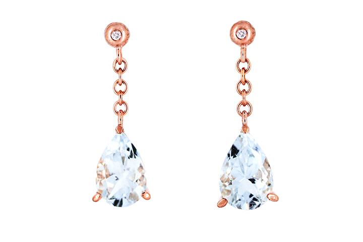 9ct Rose Gold Aquamarine and Diamond Earrings