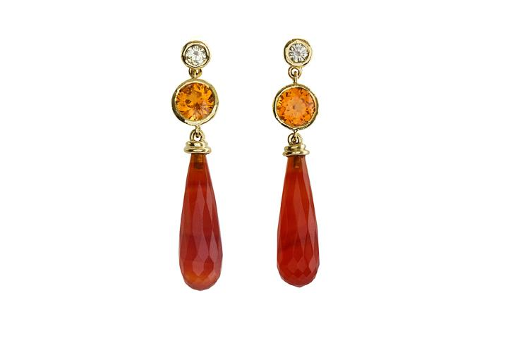 18ct Yellow Gold, Diamond, Spessartine Garnet & Carnelian, Drop Earrings