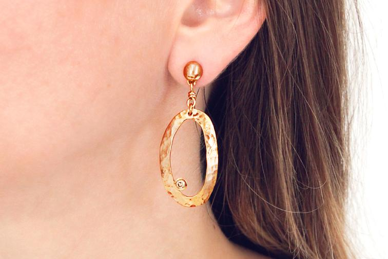 9ct Rose Gold and Diamond Oval Disc Earrings