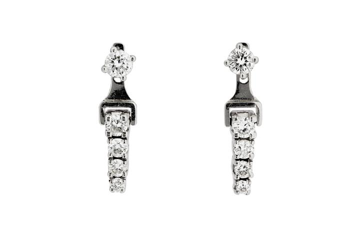 18ct White Gold and Diamond Earrings with Detachable Drops