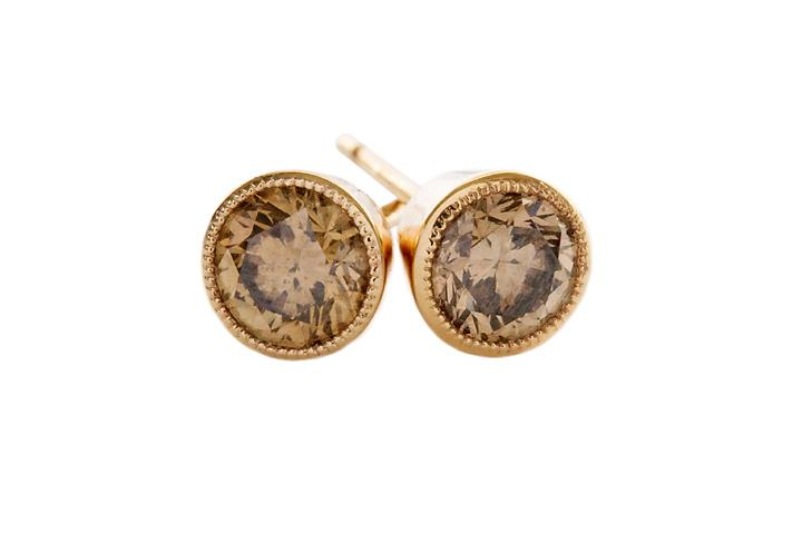 18ct Rose Gold and Cognac Diamond Stud Earrings