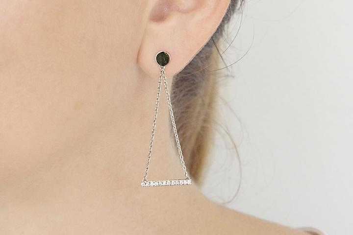 9ct White Gold and Diamond Disco Dangle Earrings