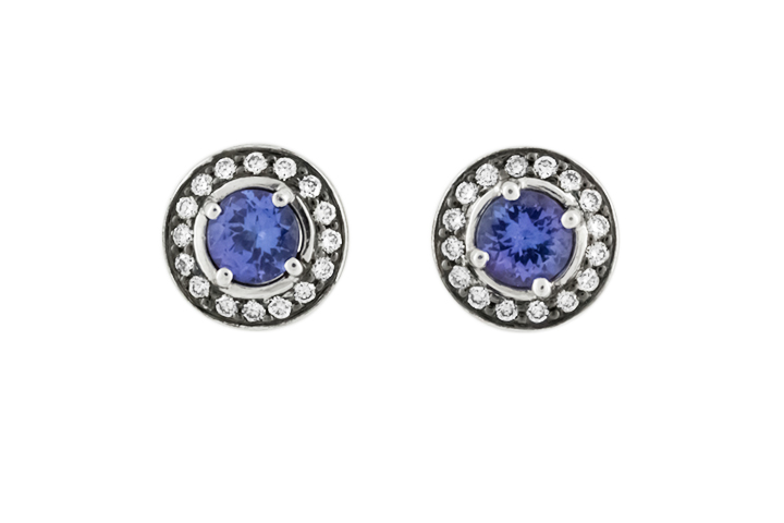 18ct White Gold, Tanzanite and Diamond Stud Earrings