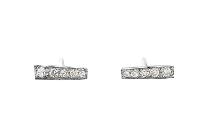 Silver and Diamond Bar Stud Earrings