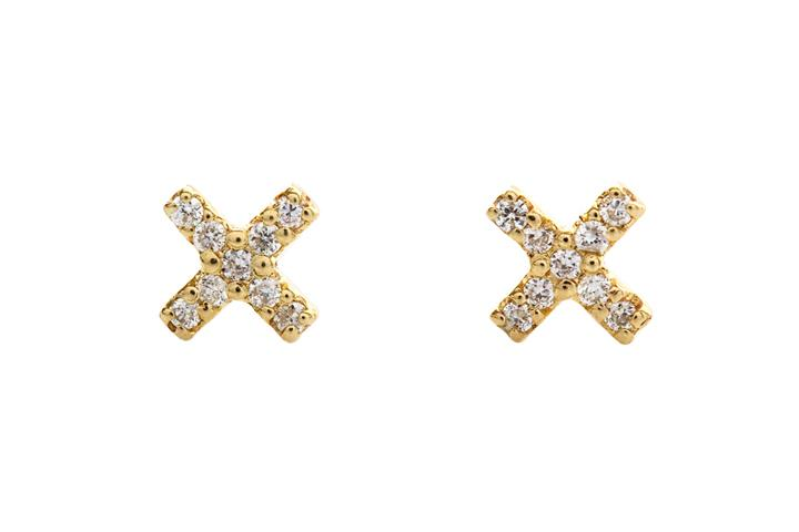 9ct Yellow Gold and Diamond Cross Earrings