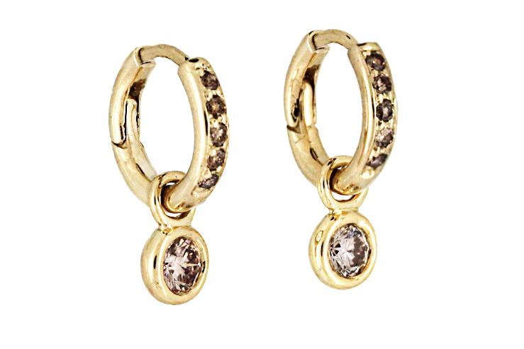 Cognac Diamond Earrings in 18ct Yellow Gold