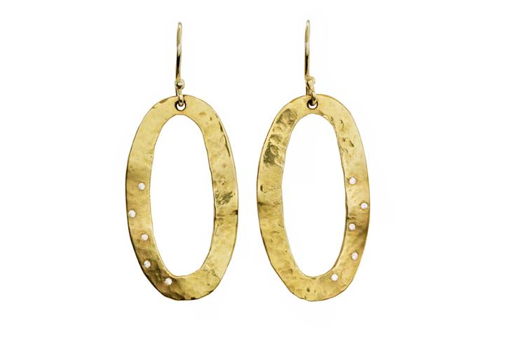 18ct Yellow Gold and Diamond Oval Disc Earrings
