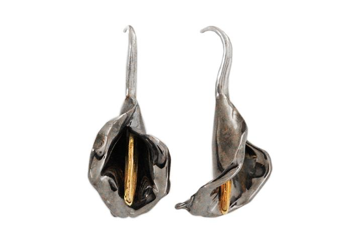 Silver Arum Lily Drop Earrings, gilded with Yellow Gold and Rhodium Black