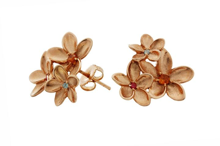 Gilded Frangipani Cluster Earrings