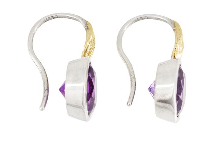 9ct Yellow Gold and Silver Earrings with Amethysts and Leaf Detail
