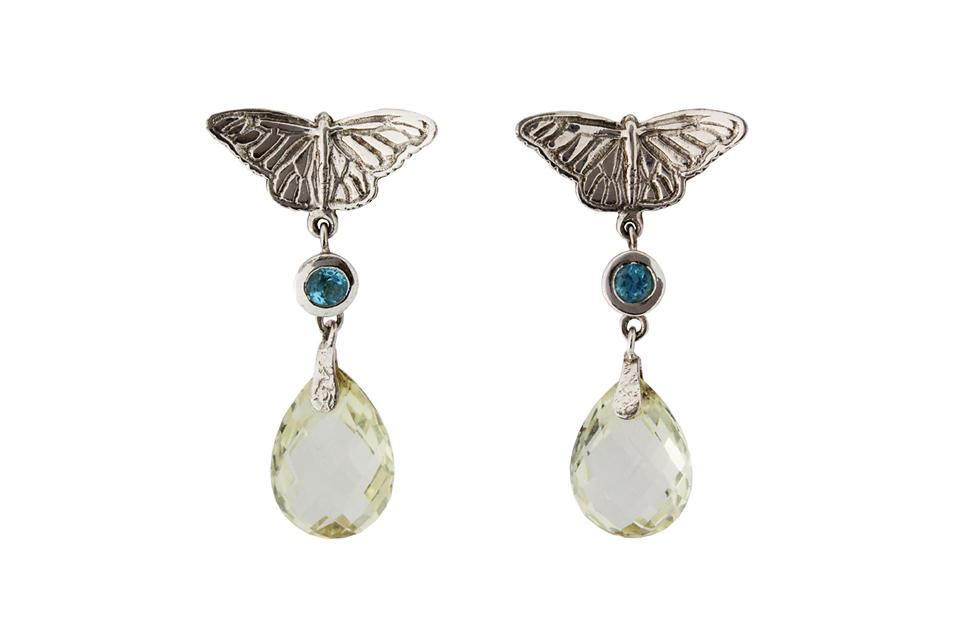 Silver Butterfly Earrings with Lemon Quartz and Blue Topaz