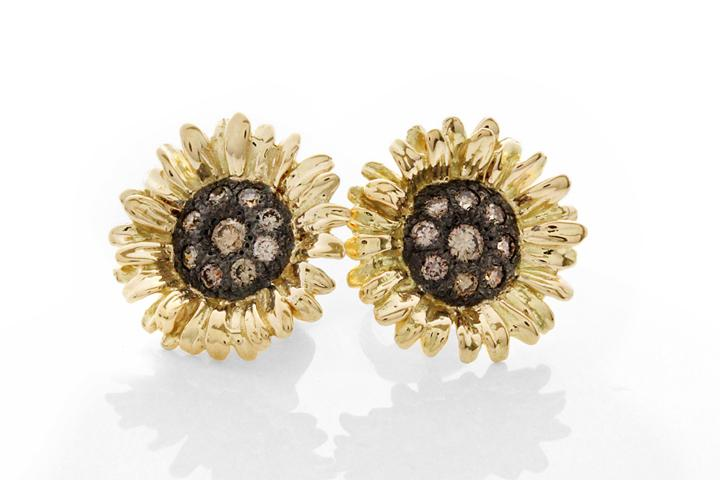 18ct Yellow Gold Sunflower Stud Earrings with Champagne Diamonds