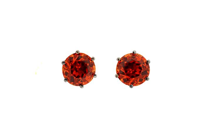 18ct White Gold and Spessartine Stud Earrings
