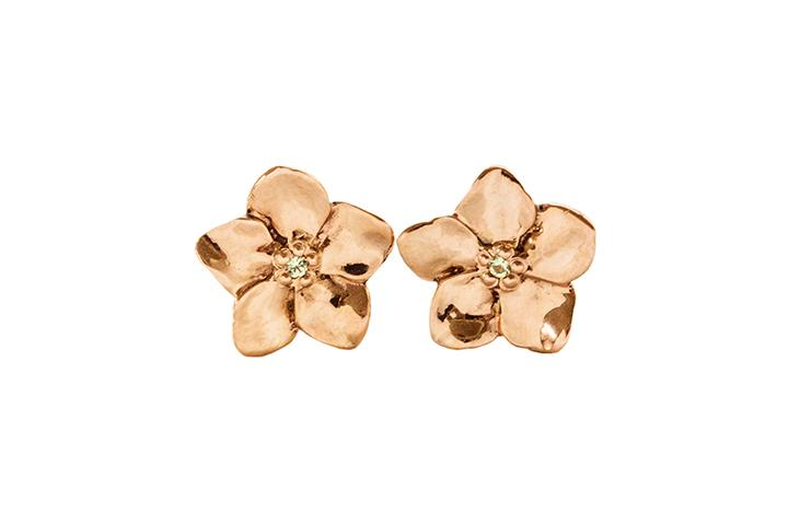 9ct Rose Gold Forget-Me-Not Flower Earrings with Diamonds