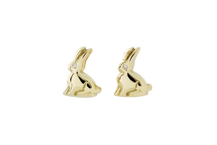 18ct Yellow gold Riverine Rabbit studs with Diamond eye