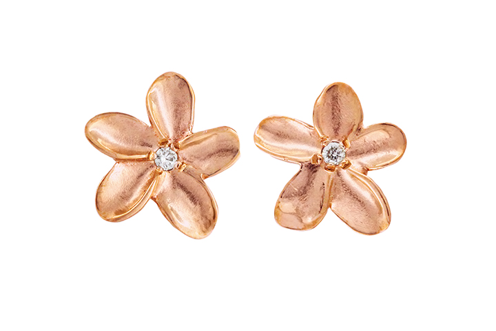 9ct Rose Gold Frangi Studs with White Diamond Centres  (extra small) (2)