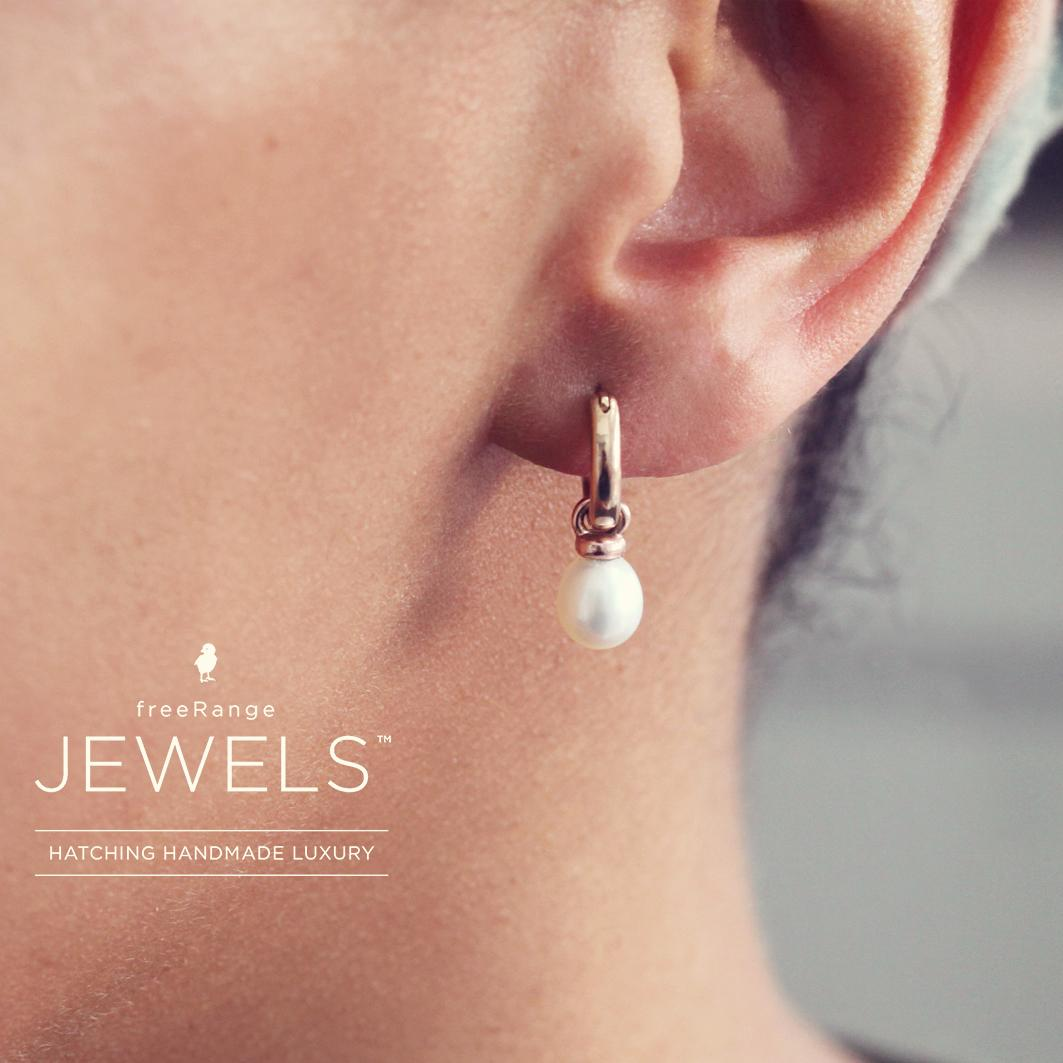 Pearl and 9ct Rose Gold Drop Earrings